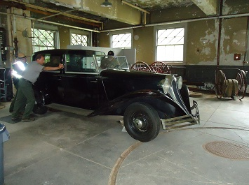Charles Edison's 1936 Brewster being prepared for conservation.
