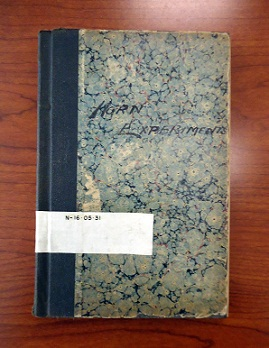 The cover of the Edison lab notebook containing the anonymous entry.