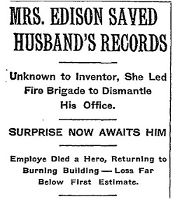 A New York Times headline featuring the 1914 Fire.