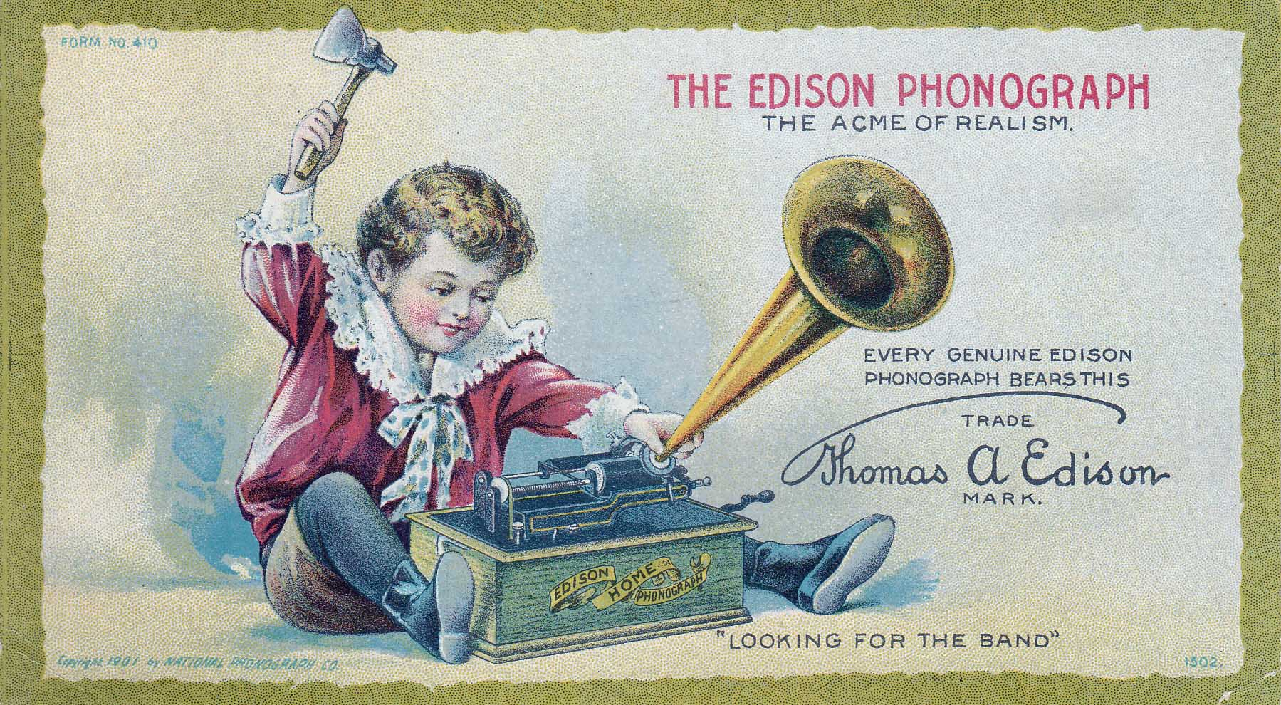 Edison Phonograph Advertisement, 1901