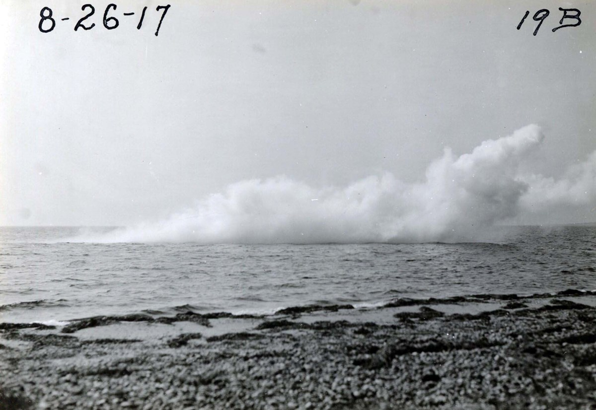 Smoke screen experiments conducted by Edison on the Long Island Sound, August 1917