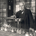 Photograph of Edison in his laboratory