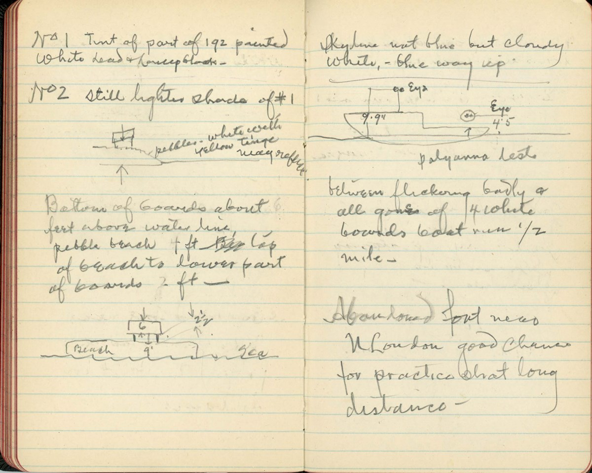 Edison kept detailed notes of his experiments while aboard the Sachem in 1917. These notes record his smoke screen and camouflage tests.
