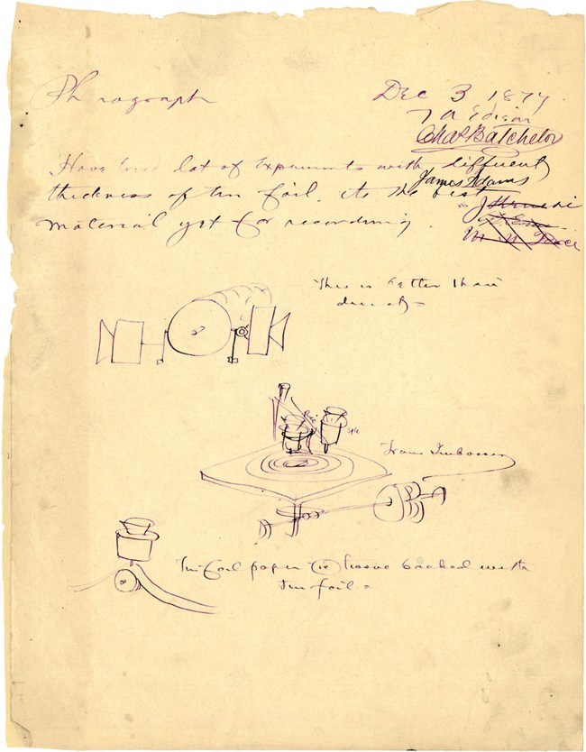 Phonograph notes and drawings, December 3, 1877. (1100pxw)