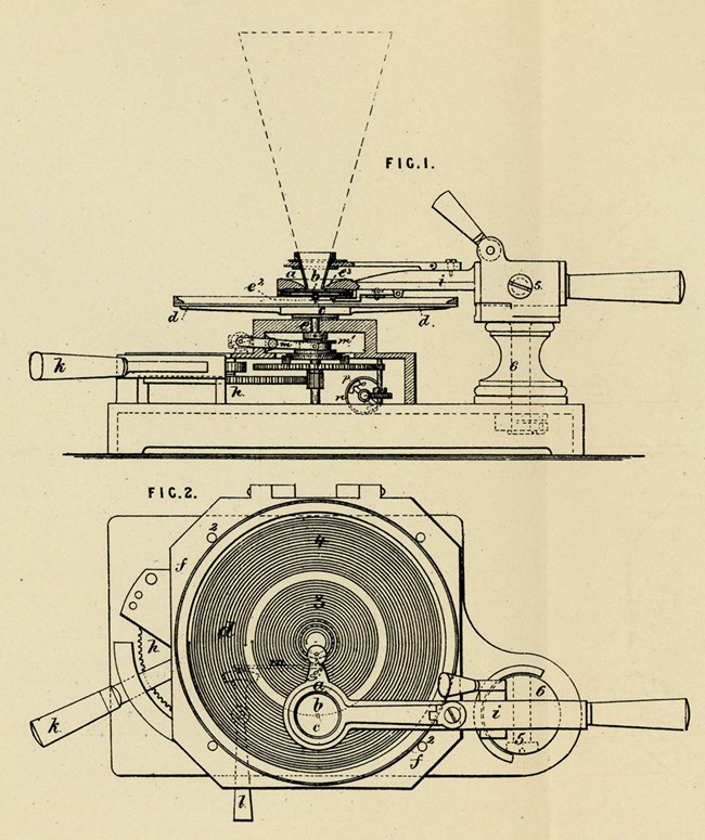 Patent drawing of Edison's Plate (Disc) Phonograph of 1878