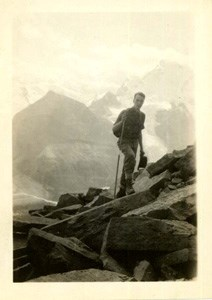Theodore Edison hiking on a mountain, probably in the Grand Tetons.