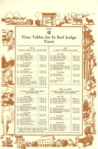 Time table for red lodge tours.