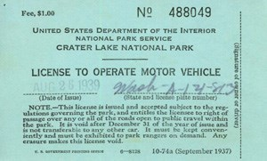 Driver's License for Crater Lake.