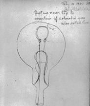 Laboratory notebook drawing of an early lightbulb.
