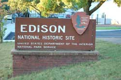 Edison National Historic Site entrance sign.