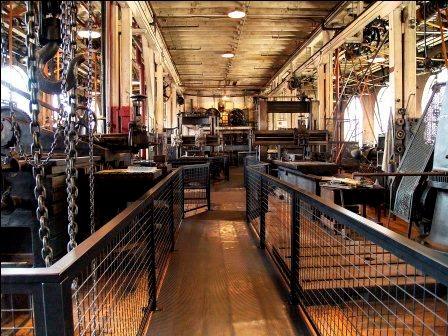 Large belt-driven machine shop that was used by the staff of Thomas Edison.