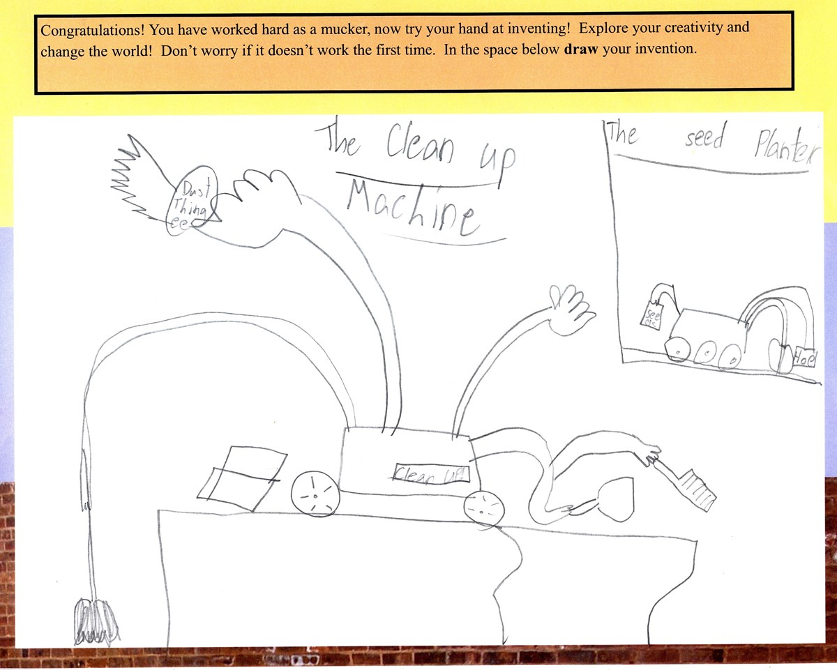 Drawing from the page of the Junior Ranger booklet.  On this page the Junior Ranger is asked to draw an idea for a new invention.  This Junior Ranger chose a  Clean-Up machine for their new invention.