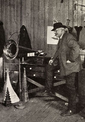 Theo Wangemann in the Edison Laboratory Music Room, circa May 1905.