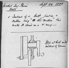 Drawing of a prototype talking doll mechanism from Edison Laboratory notebook entry of September 24, 1888.