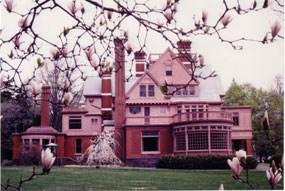 Side view of Thomas Edison's home Glenmont in the spring.