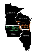 Cultural range map of effigy moundbuilders
