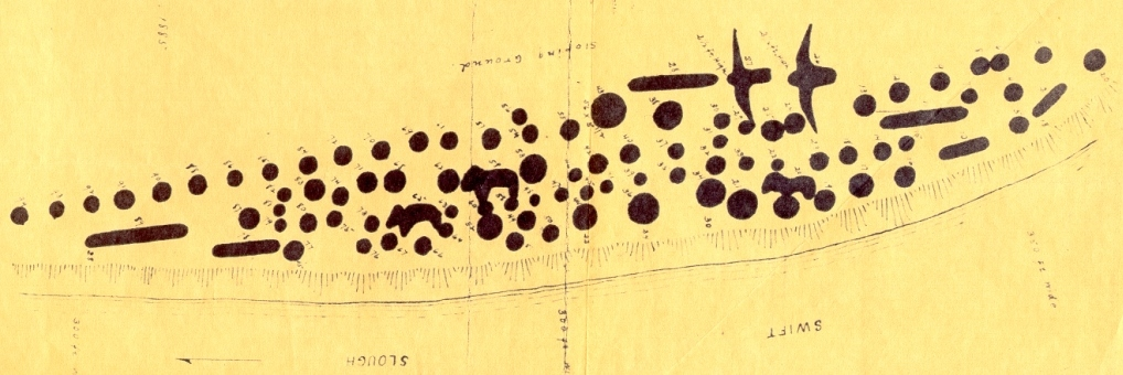 Portion of map drawn by T. H. Lewis of the mounds in the Sny Magill Group