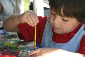 Child Painting in Kids Activity at HawkWatch