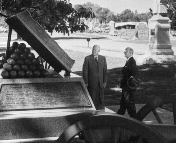 Eisenhower and historian Bruce Catton at the High Water Mark, .