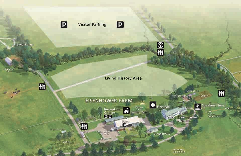 A map of the Eisenhower National Historic Site showing the areas where the living history camps and visitor parking is located.