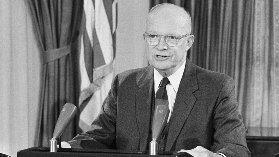 President Dwight D. Eisenhower gives a speech at the White House.