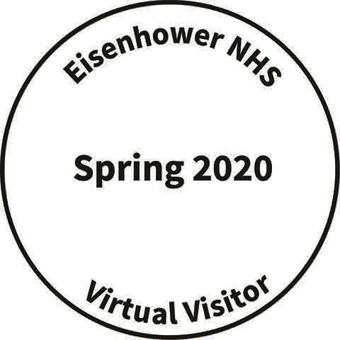 A black circle with Eisenhower NHS, Virtual Visitor, and Spring 2020 written inside the black circle.