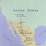 Map of El Camino Real de Tierra Adentro from the United States to Mexico