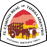 El Camino Real de Tierra Adentro National Historic Trail logo with oxen and cart in front of adobe house
