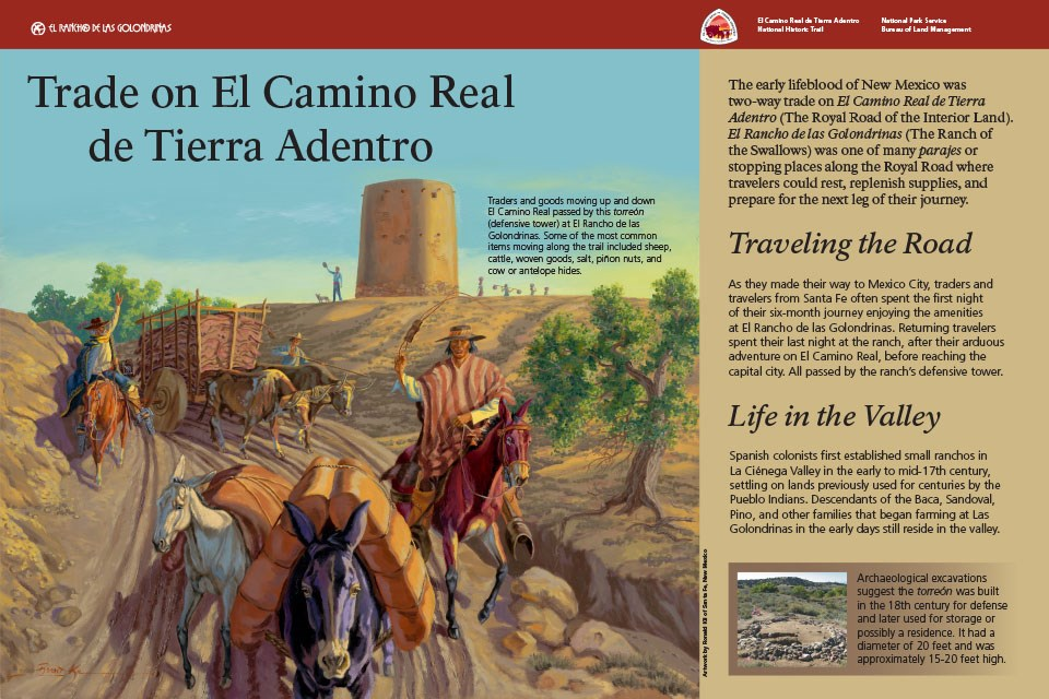 Exhibit depicts traders and animals on El Camino Real approaching site