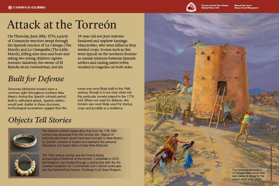 Exhibit artwork shows an attack on a defensive tower
