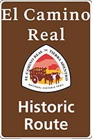 Brown El Camino Real de Tierra Adentro NHT historic route sign with trail logo