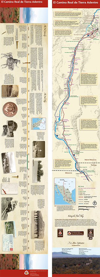 An image of El Camino Real de Tierra Adentro's official brochure, which contains a map of the trail and a timeline with images and text.