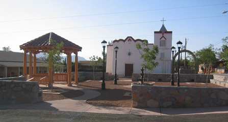 Chuch and courtyard in Dona Ana Historic Village
