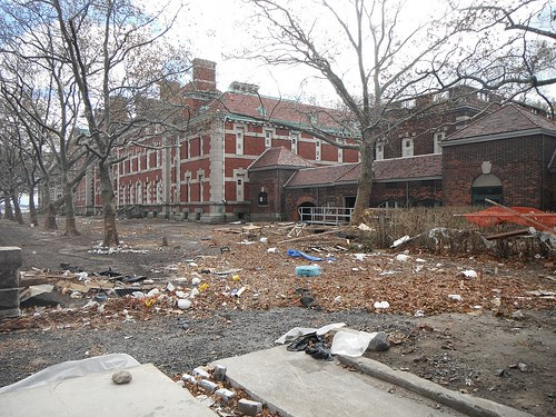 ellis island with debris