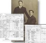 Manifest (passenger arrival record) from 1910 and a black and white photograph of two young men.