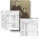Historic photo and manifests of two young men who immigrated in 1910.
