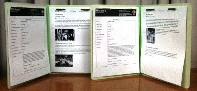 """Being Processed"" Immigrant Files ready for student use with the information about the immigrant on the left side of the file folder and the immigrant's route through Ellis Island on the right."