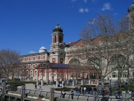 Ellis Island Immigration Museum Entrance from Ferry