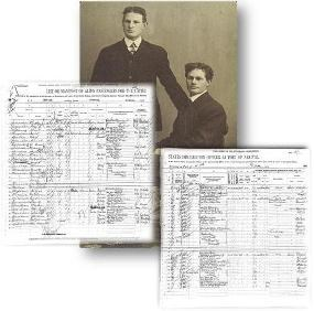 Historic photograph of two young men who immigrated through Ellis Island in 1910 along with the ship's manifest their names appeared on.