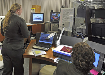 "An Ellis Island Park Ranger delivers ""A Distant Shore"" to students in Minnesota via videoconferencing equipment"