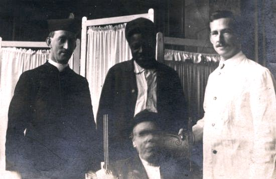 Doctor, 2 Patients and a priest c1920