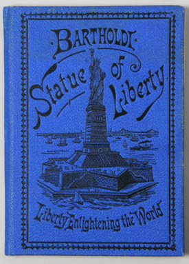 Booklet about history of Statue of Liberty, blue