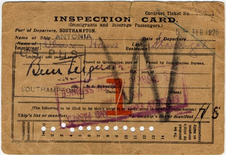 Inspection card from S.S. Antonia, 1925