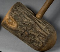 Wooden mallet used to hammer rivets