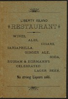 Handbill from the Statue of Liberty Restaurant