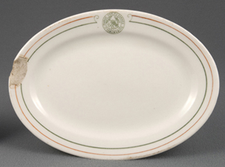 Oval plate used by Food Services on Ellis Island