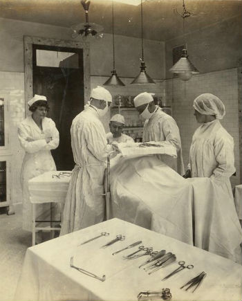 An operation on Ellis Island c. 1920.