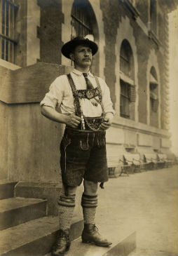 Wilhelm Schleich, a Bavarian Miner, photographed outside of the Main Immigration Building c. 1892-1927.