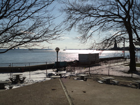 "Ellis Island Dock closed with ""Diver Down"" flag"