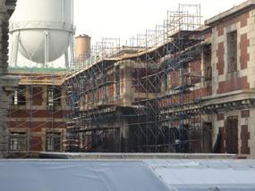Baggage & Dormitory Building scaffolding